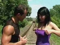 Screwed at the Railway Line Young Busty
